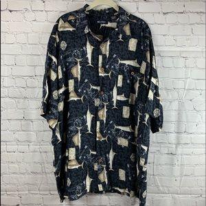 Black Hawaiian Shirt with Fish and Maps